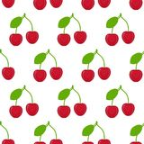 Cherries seamless pattern. Seamless pattern with cherries isolated on white background. Vector illustration of berries Royalty Free Stock Image