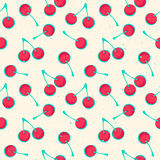 Cherries. Seamless pattern with ripe cherries symbols over white background.  textile print ornament. fashion, grunge wallpaper cool design. abstract, colorful Royalty Free Stock Photography