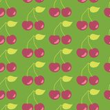 Cherries seamless vector pattern background green stock illustration