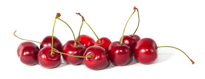 Cherries. Several cherries isolated on white background Royalty Free Stock Images