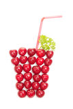 Cherries in the shape of a glass of juice Royalty Free Stock Image