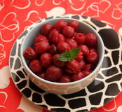 Cherries. Some cooked red cherries with a sauce of sugar Stock Image