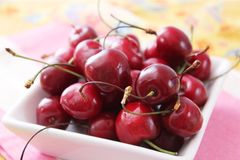 Cherries. Some fresh red cherries in a bowl Stock Images