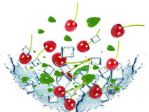 Cherries splash Stock Photo