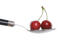 Cherries on Spoon Stock Photo