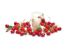 Cherries and strawberries with cream. Royalty Free Stock Photo