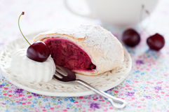 Cherries strudel Stock Image