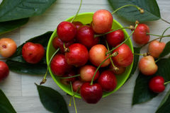 Cherries, sweet and juicy in a small green bowl Stock Images