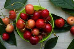 Cherries, sweet and juicy in a small green bowl Stock Photography