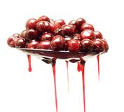 Cherries with syrup Royalty Free Stock Images