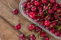 Cherries on table closeup Royalty Free Stock Images