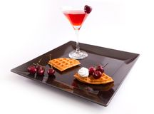 Cherries Tart Slices with Drink Stock Photo
