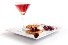 Cherries Tart Slices with Juice Stock Photos