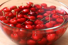 Cherries in a tray Stock Photos