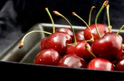 Cherries with Water Drops Stock Images