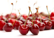 Cherries on white background Royalty Free Stock Images