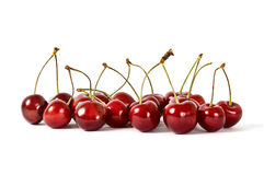 Cherries on White Background. Cherries with Dewdrops on White Background Royalty Free Stock Photos