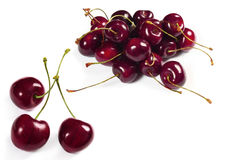 Cherries on white background Stock Images