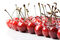 Cherries on white background - close up Stock Photos