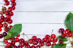 Cherries On White Boards Royalty Free Stock Photography