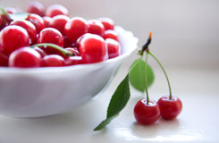 Cherries in white bowl Royalty Free Stock Photography