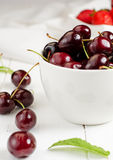 Cherries. In the white bowl Royalty Free Stock Photos