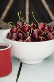Cherries in a white bowl, Stock Images