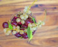 Cherries and white currant. Royalty Free Stock Photos
