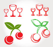 Cherries and wine glasses Royalty Free Stock Image