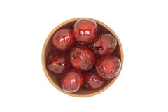 Cherries in a wooden bowl Stock Photography
