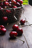 Cherries on wooden table Stock Photo