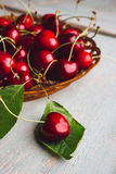 Cherries on wooden table. Fresh cherries on wooden table Stock Photos