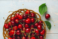 Cherries on wooden table. Fresh cherries on wooden table Stock Photography