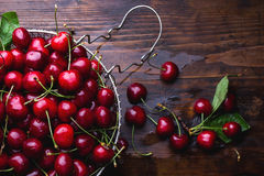 Cherries on wooden table. Fresh cherries on wooden table. Top view Royalty Free Stock Photos
