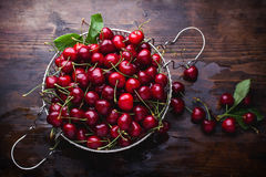 Cherries on wooden table. Fresh cherries on wooden table. Top view Stock Image