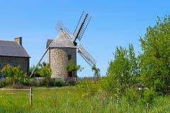 Cherrueix Le moulin de la Saline windmill in Brittany Stock Image