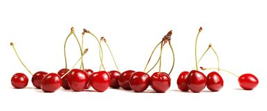 Cherry. Red cherries isolated on white Stock Images