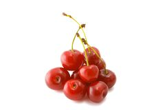 Cherry. Isolated heap of cherries on a white background royalty free stock photos
