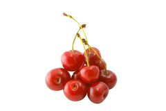 Cherry. Isolated heap of cherries on a white background royalty free stock photography