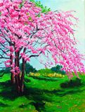 Cherry. Oil painting about the cherry stock illustration