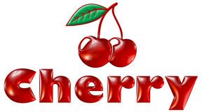 Cherry. Illustrated Cherry word and fruit Royalty Free Stock Images