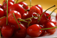 Cherry. Several cherry in white plate Stock Image