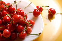 Cherry. Several cherry  in white plate Stock Photography