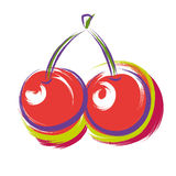 Cherry. Vector illustration of two cherries Royalty Free Stock Photos