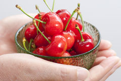 Cherry. A bowl of cherry fruit in hand Stock Photo