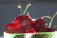 Cherry. A bowl of cherry fruit on the table Royalty Free Stock Photos