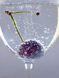 Cherry. In the wineglass Stock Images