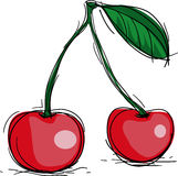 Cherry. Sweet cherry icons, vector illustration Stock Photos