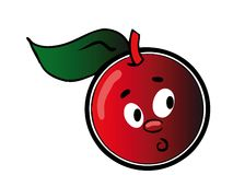 Cherry. Melancholy cherry - isolated cartoon illustration on white (with vector EPS format Stock Images