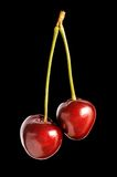 Cherry. Red cherry isolated on black Stock Photo